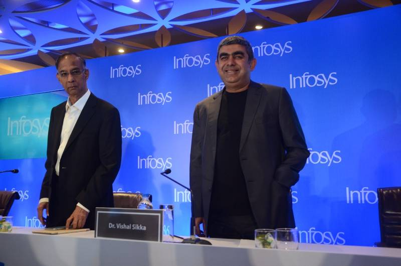 Mumbai: Infosys Chairman R Seshasayee and CEO Vishal Sikka addresses during a press conference in Mumbai on Feb 13, 2017. (Photo: Sandeep Mahankal/IANS) by .