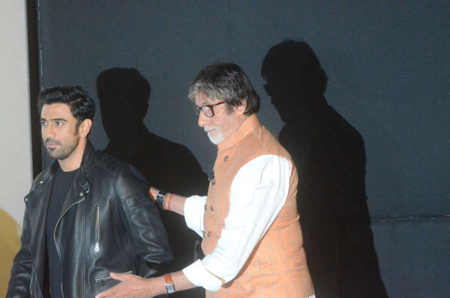 "Mumbai: Actors Amitabh Bachchan and Amit Sadh during the trailer launch of their upcoming film ""Sarkar 3"" in Mumbai on March 1, 2017. (Photo: IANS) by ."