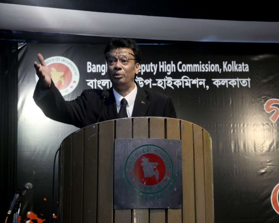 """Kolkata: Bangladeshi Deputy High Commissioner in Kolkata Zokey Ahad addresses during a programme organised on """"Genocide Day"""" to mark the alleged atrocities against Bengalis in 1971, in Kolkata, on March 25, 2017. (Photo: IANS) by ."""