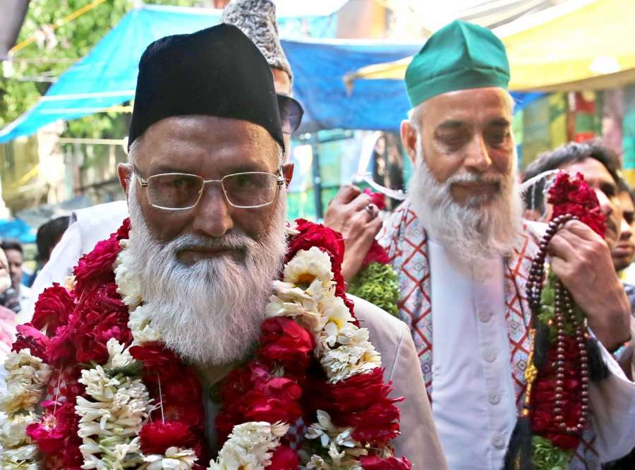 New Delhi: Indian Sufi clerics of Delhi's Hazrat Nizamuddin Dargah Syed Asif Ali Nizami (L) and Nazim Ali Nizami (R), who were reportedly went missing in Pakistan returned to Delhi; arrive to meet External Affairs Minister Sushma Swaraj in New Delhi on March 20, 2017. (Photo: IANS) by .