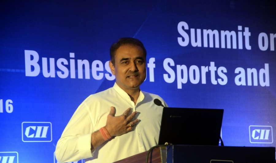 """Mumbai: All India Football Federation (AIFF) President Praful Patel addresses during a summit on """"Business of Sports and Entertainment"""" organised by CII in Mumbai on Sept 21, 2016. (Photo: IANS) by ."""