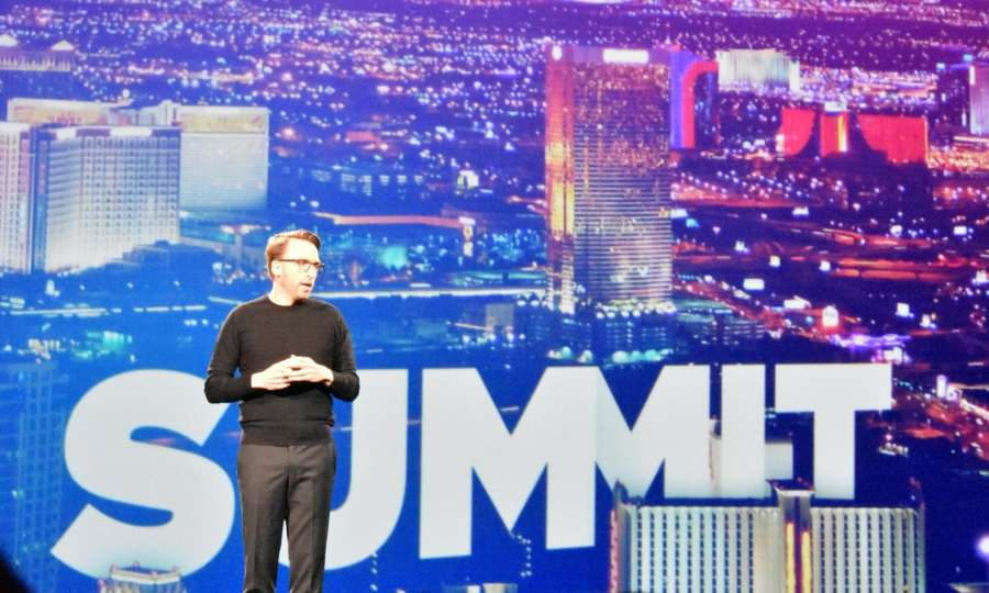 Las Vegas: Shantanu Narayen, Chairman, President and CEO, Adone Systems while launching Adobe's Experience Cloud in Las Vegas on March 22, 2017. (Photo: IANS) by .