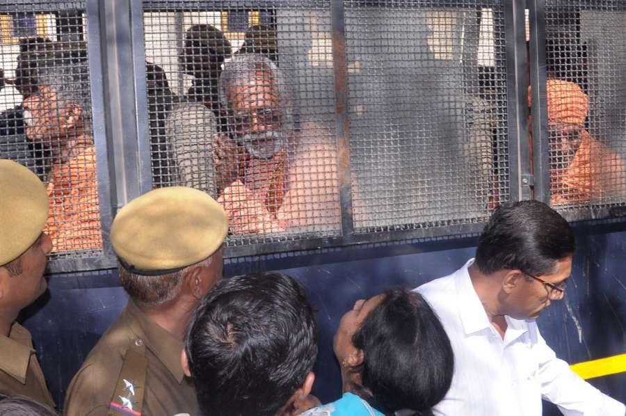 Jaipur: The accused in the Ajmer Dargah bomb blast case 2007 being taken back after produced in a NIA Court in Jaipur on 25, Feb 2017. (Photo: Ravi Shankar Vyas/IANS) by .