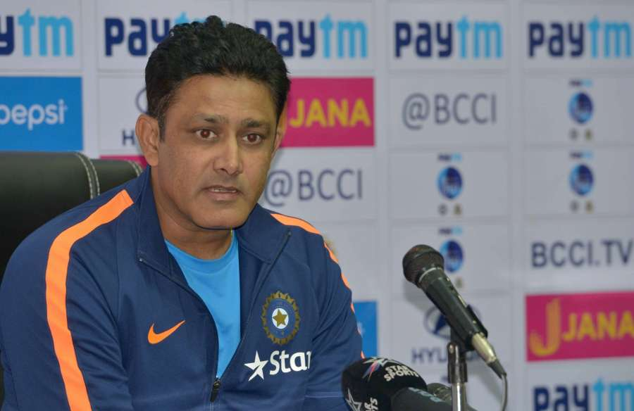 Hyderabad: Indian coach Anil Kumble addresses a press conference at Rajiv Gandhi International Cricket Stadium in Hyderabad, on Feb 7, 2017. (Photo: Surjeet Yadav/IANS) by .