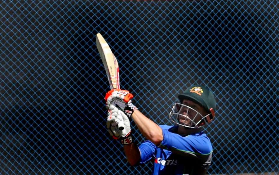 Pune: Australian cricketer David Warner during a practice session at Maharashtra Cricket Association Stadium in Pune on Feb 21, 2017. (Photo: Surjeet Yadav/IANS) by .