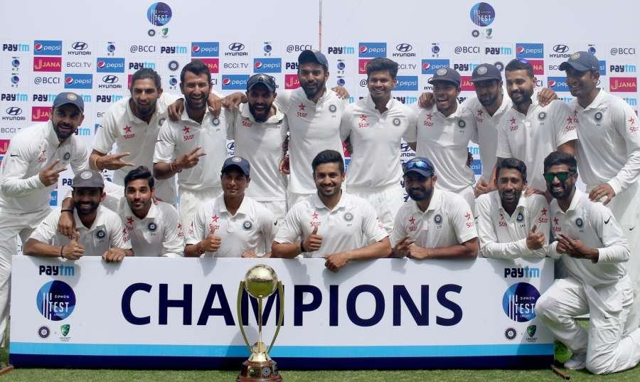 Dharamsala: Team India after winning the Test match series against Australia at Himachal Pradesh Cricket Association Stadium in Dharamsala on March 28, 2017. (Photo: Surjeet Yadav/IANS) by .