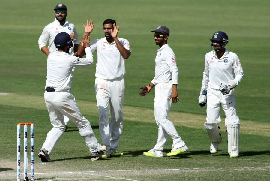 Dharamsala: R Ashwin of India celebrates fall of Glenn Maxwell's wicket on Day-3 of the fourth Test match between India and Australia at Himachal Pradesh Cricket Association Stadium in Dharamsala on March 27, 2017. (Photo: Surjeet Yadav/IANS) by .