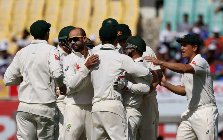 Dharamsala: Nathan Lyon of Australia celebrates fall of Karun Nair's wicket on Day-2 of the fourth Test match between India and Australia at Himachal Pradesh Cricket Association Stadium in Dharamsala on March 26, 2017. (Photo: Surjeet Yadav/IANS) by .