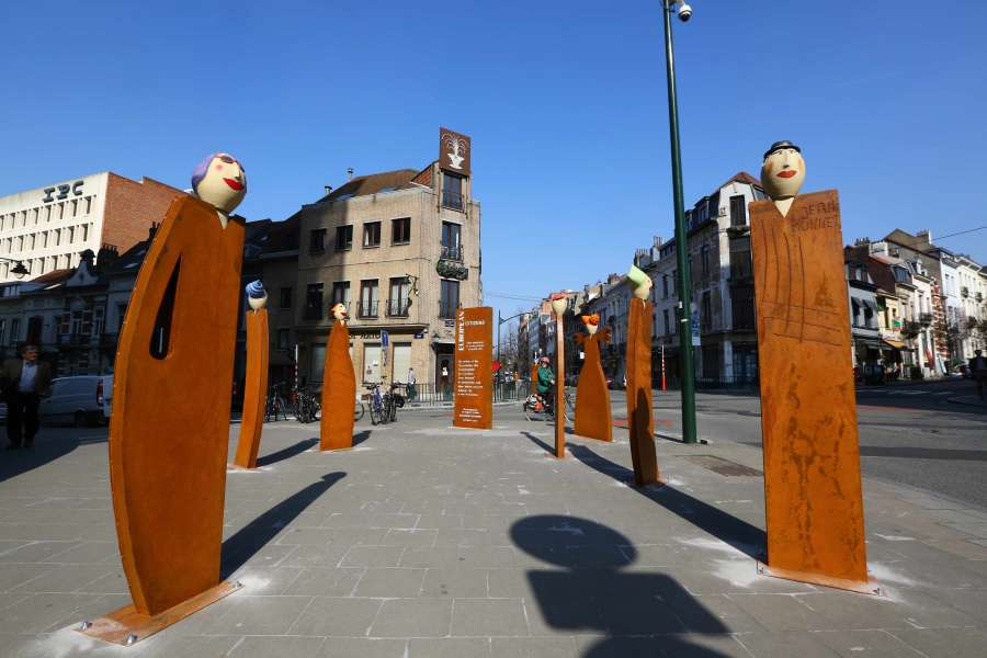 BELGIUM-BRUSSELS-SCULPTURES-TREATY OF ROME-60TH ANNIVERSARY by .