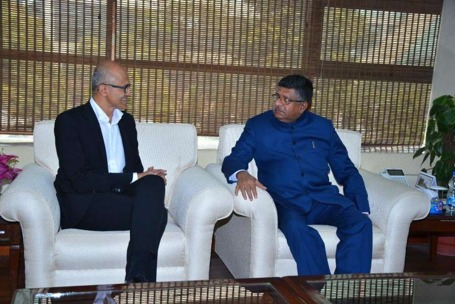 New Delhii: Satya Nadella, CEO, Microsoft Corporation meeting Union Minister for Electronics & IT and Law & Justice, Ravi Shankar Prasad in New Delhi on Feb. 21, 2017. (Photo: IANS/PIB) by .