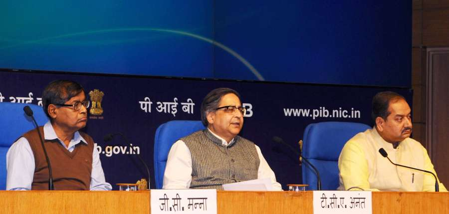 New Delhi: Chief Statistician of India and Secretary, Ministry of Statistics & Programme Implementation, Dr. TCA Anant addresses on the Second Advance Estimates of National Income, 2016-17 and Quarterly Estimates of Gross Domestic Product for the Third Quarter of 2016-17, in New Delhi on Feb 28, 2017. Also seen Principal Director General (M&C), Press Information Bureau, AP Frank Noronha. (Photo: IANS/PIB) by .