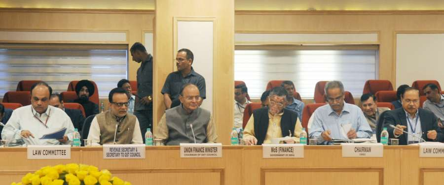 New Delhi: Union Minister for Finance and Corporate Affairs Arun Jaitley chairs the 11th GST Council Meeting, in NewDelhi on March 4, 2017. Also seen Minister of State for Finance Santosh Kumar Gangwar and the Secretary, Revenue, Dr. Hasmukh Adhia. (Photo: IANS/PIB) by .