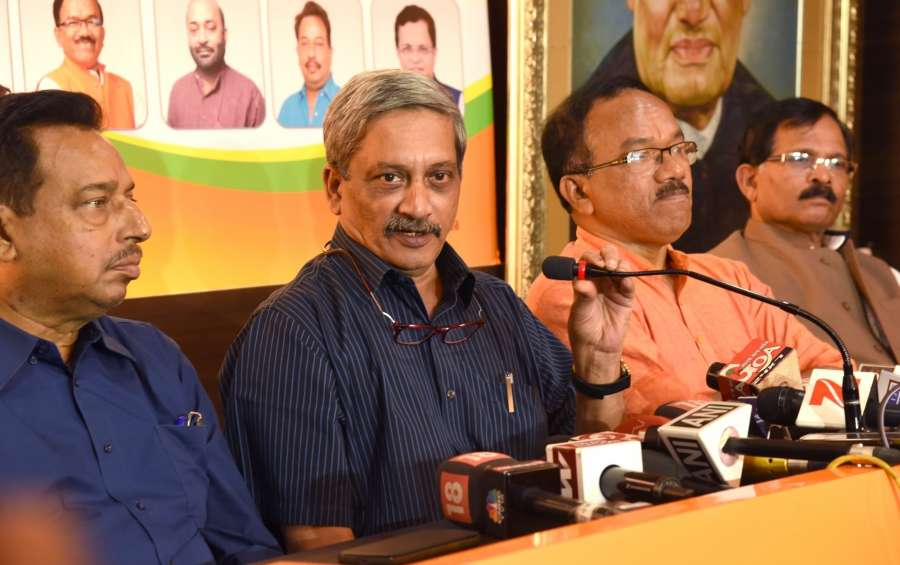 Panaji: Union Defense Minister Manohar Parrikar addresses a press conference after results of Goa Assembly Elections declared in Panaji on March 11, 2017. Also seen Goa Chief Minister Laxmikant Parsekar, Deputy Chief Minister Francis D'Souza and Union Minister for Ayush (MoS) Shripad Naik. (Photo: IANS) by .