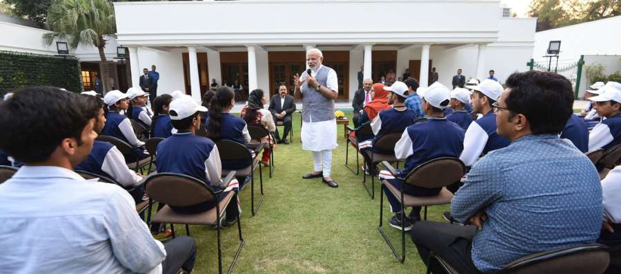 New Delhi: Prime Minister Narendra Modi interacting with the youth and children from Jammu and Kashmir, in New Delhi, on Feb 28, 2017. (Photo: IANS/PIB) by .