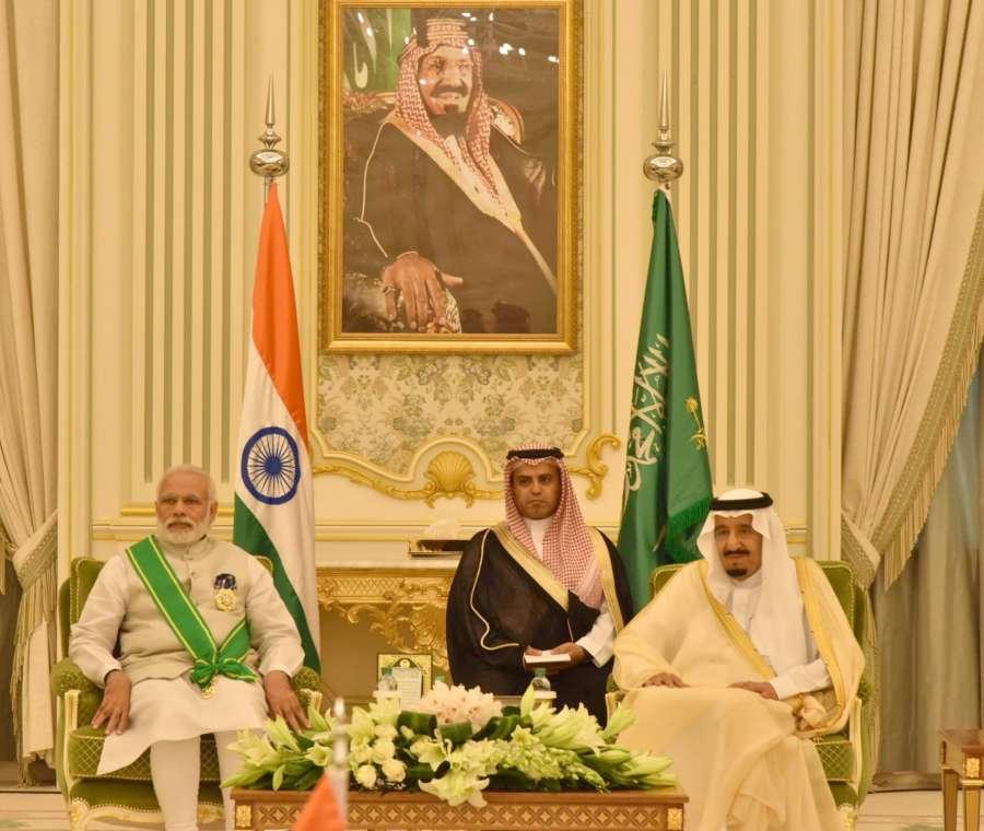 Riyadh: Prime Minister Narendra Modi and King Salman bin Abdulaziz Al Saud of Saudi Arabia at the signing of agreements ceremony between India and the kingdom of Saudi Arabia, in Riyadh, Saudi Arabia on April 3, 2016. (Photo: IANS/PIB) by .