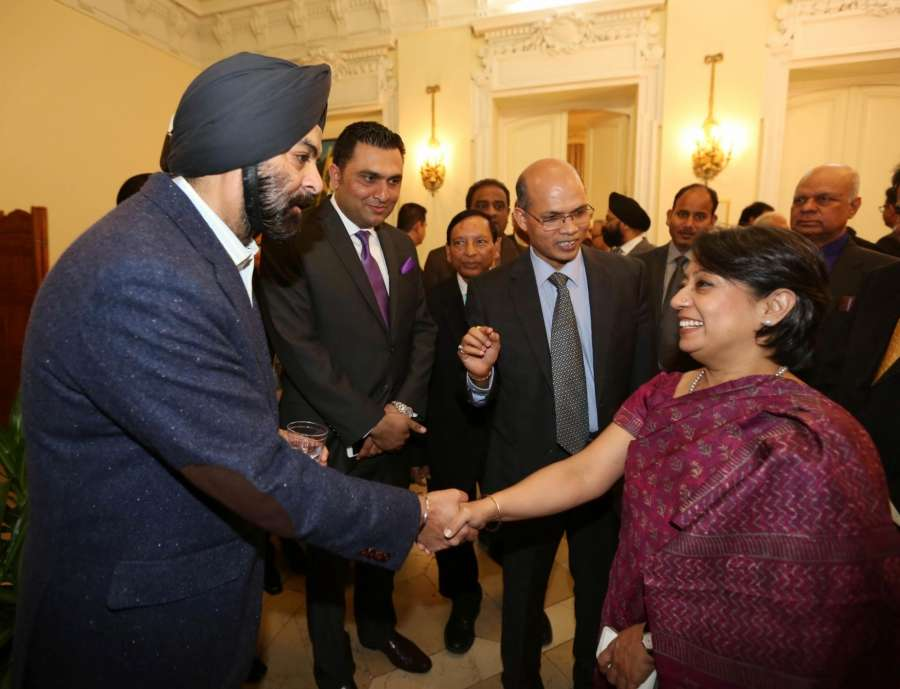 New York: Ambassador Hardeep Singh Puri, his wife, Ambassador Lakshmi Puri, Assistant Secretary-General, UN, with Ambassador Riva Ganguly Das, who assumed charge as the new Consul General, New York at a reception hosted by Indian Consulate in New York on March 13, 2016. (Photo: Mohammed Jaffer/IANS) by .