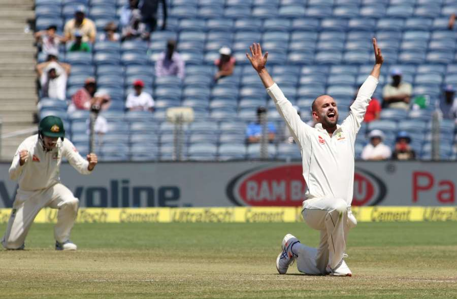 Pune: Nathan Lyon of Australia celebrates fall of Lokesh Rahul's wicket on Day-3 of the first test match between India and Australia at Maharashtra Cricket Association Stadium in Pune on Feb 25, 2017. (Photo: Surjeet Yadav/IANS) by .