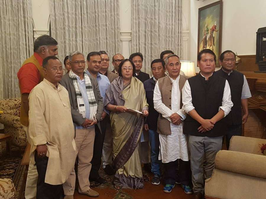 Imphal: Newly elected Manipur BJP MLAs meet Governor Najma Heptulla at Governor House in Imphal, Manipur on March 13, 2017. by .