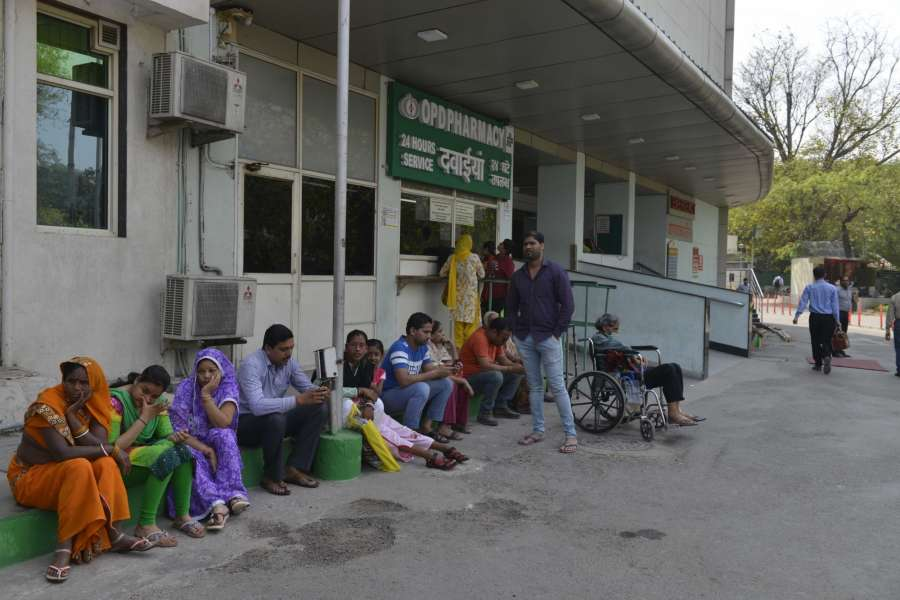 New Delhi: People inconvenienced outside Sir Ganga Ram Hospital as doctors go on strike to press for implementation of Violence Against Doctors Act, 2010, in New Delhi on March 24, 2017. (Photo: IANS) by .