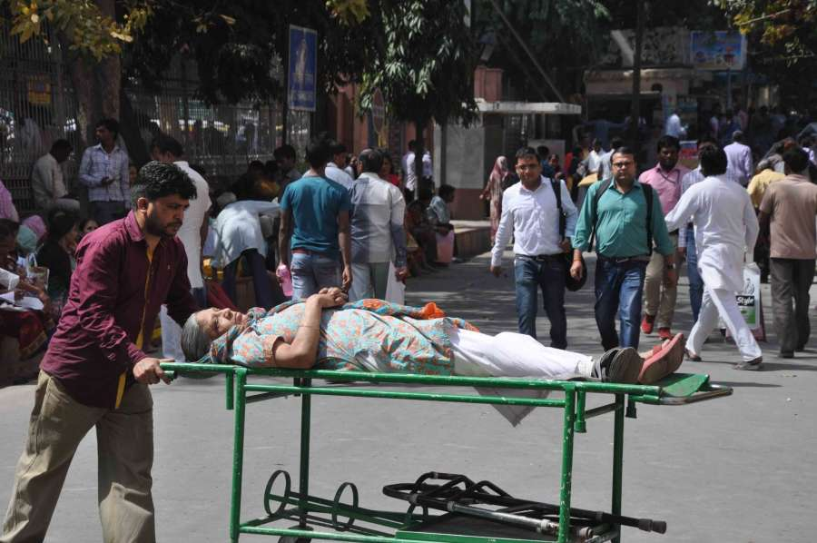 New Delhi: Patients inconvenienced as doctors go on strike to press for implementation of Violence Against Doctors Act, 2010, at Ram Manohar Lohia Hospital in New Delhi on March 23, 2017. (Photo: IANS) by .