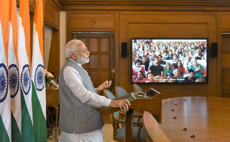 New Delhi: Prime Minister Narendra Modi addresses during the inaugural function of Annual International Yoga Festival at Rishikesh, through video conferencing, in New Delhi on March 2, 2017. (Photo: IANS/PIB) by .