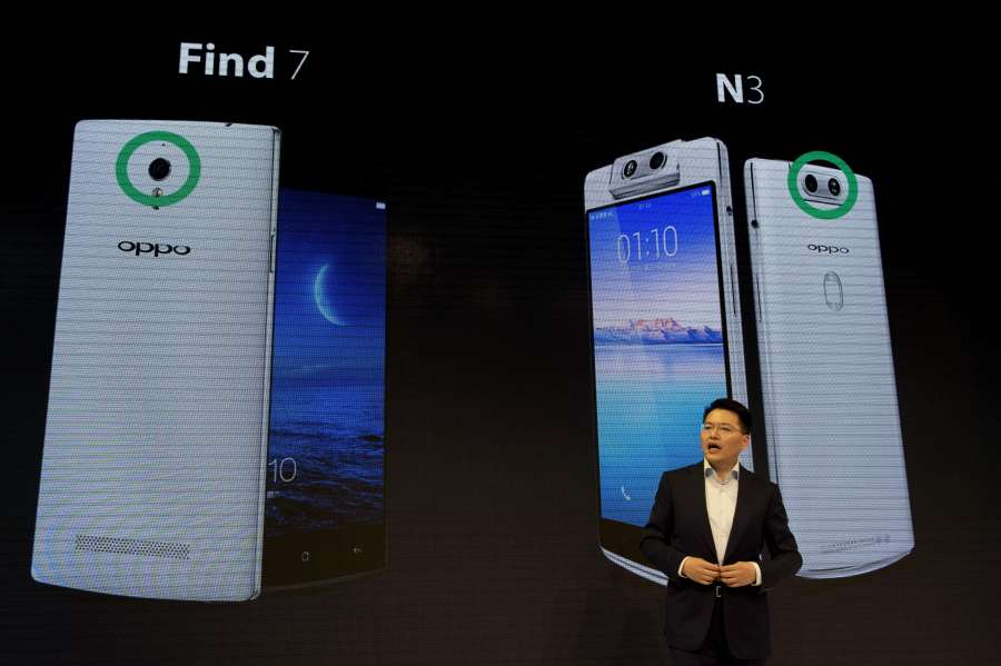 BARCELONA, Feb. 28, 2017 (Xinhua) -- Andy Jiang from OPPO speaks during the presentation of their new devices on the occasion of the Mobile World Congress (MWC) in Barcelona, Spain, Feb. 27, 2017. (Xinhua/Lino De Vallier/IANS) by .