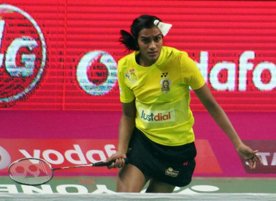 New Delhi: PV Sindhu of Chennai Smashers in action against Saina Nehwal of Awadhe Warriors during a Premier Badminton League 2017 match in New Delhi on Jan 13, 2017. (Photo: IANS) by .