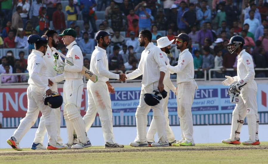 Ranchi: India cricketers after end of the fifth day of the third cricket test match between India and Australia at the Jharkhand State Cricket Association (JSCA) Stadium complex in Ranchi on March 20, 2017. (Photo: Surjeet Yadav/IANS) by .
