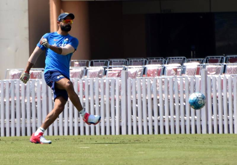 Ranchi: Indian captain Virat Kohli during a practice session ahead of the third test match between India and Australia at JSCA stadium in Ranchi on March 14, 2017. (Photo: IANS) by .