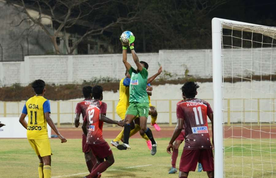 Bambolim: Players in action during the Santosh Trophy semifinals match between Goa and Kerala in Bambolim, Goa, on March 23, 2017. (Photo: IANS) by .