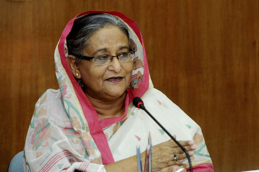 Dhaka (Bangladesh): Bangladesh Prime Minister Sheikh Hasina, addresses during a programme in Dhaka, Bangladesh on May 7, 2015. (Photo: bdnews24/IANS) by .