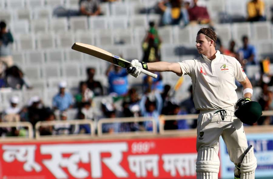 Ranchi: Australian captain Steve Smith raises his bat after scoring century during the first day of the third cricket test match between India and Australia at the Jharkhand State Cricket Association (JSCA) Stadium complex in Ranchi on March 16, 2017. (Photo: Surjeet Yadav/IANS) by .