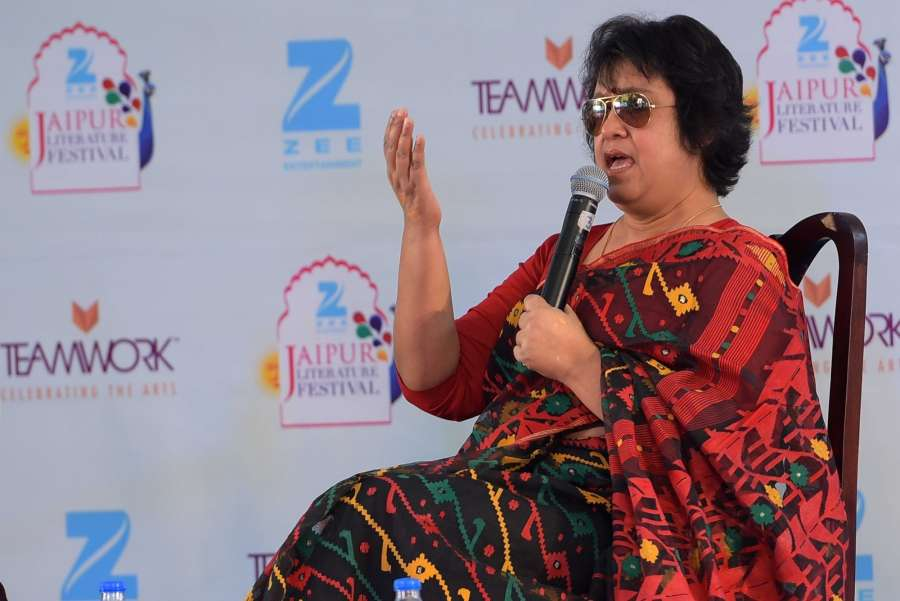 Jaipur: Bangladeshi author and freedom of expression advocate Taslima Nasrin at Jaipur Literature Festival (JLF) being held at Diggi Palace in Jaipur, on Jan 23, 2017. (Photo: Ravi Shankar Vyas/IANS) by .