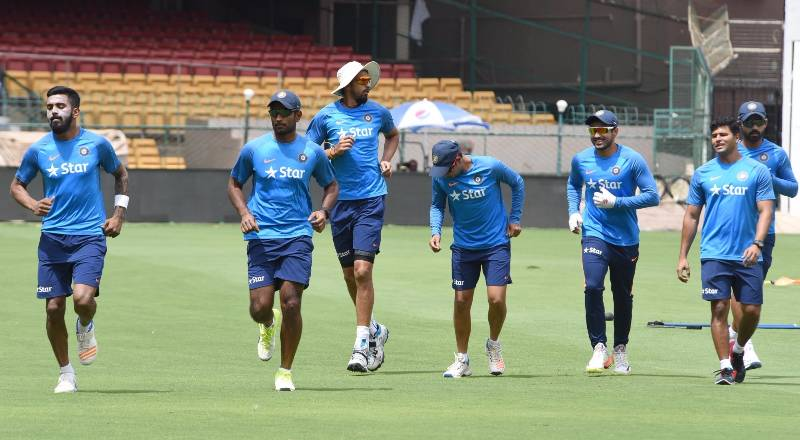 Bengaluru: Indian cricketers during a practice session ahead of the second test match between India and Australia in Bengaluru on March 2, 2017. (Photo: IANS) by .