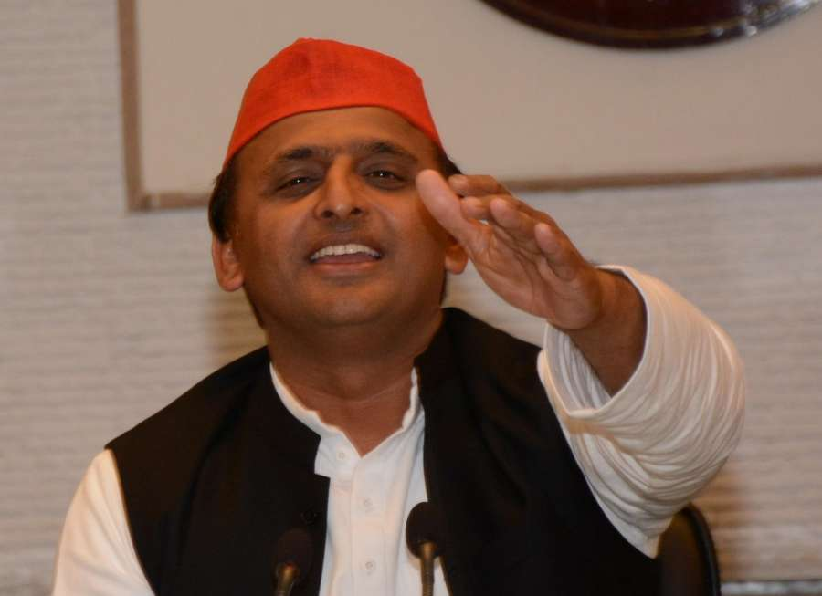 Lucknow: Uttar Pradesh Chief Minister and SP leader Akhilesh Yadav addresses a press conference regarding party's performance in the assembly elections in Lucknow on March 11, 2017. (Photo: IANS) by .