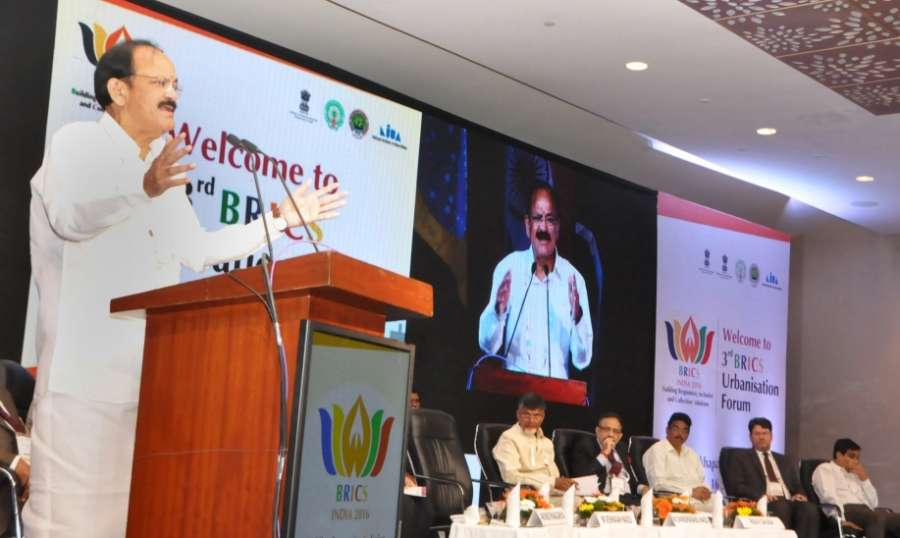 Visakhapatnam: Union Minister for Urban Development, Housing & Urban Poverty Alleviation and Information & Broadcasting, M. Venkaiah Naidu addresses at the inauguration of the 3rd BRICS Urbanisation Forum, in Visakhapatnam on Sept 14, 2016. Photo (IANS/PIB) by .