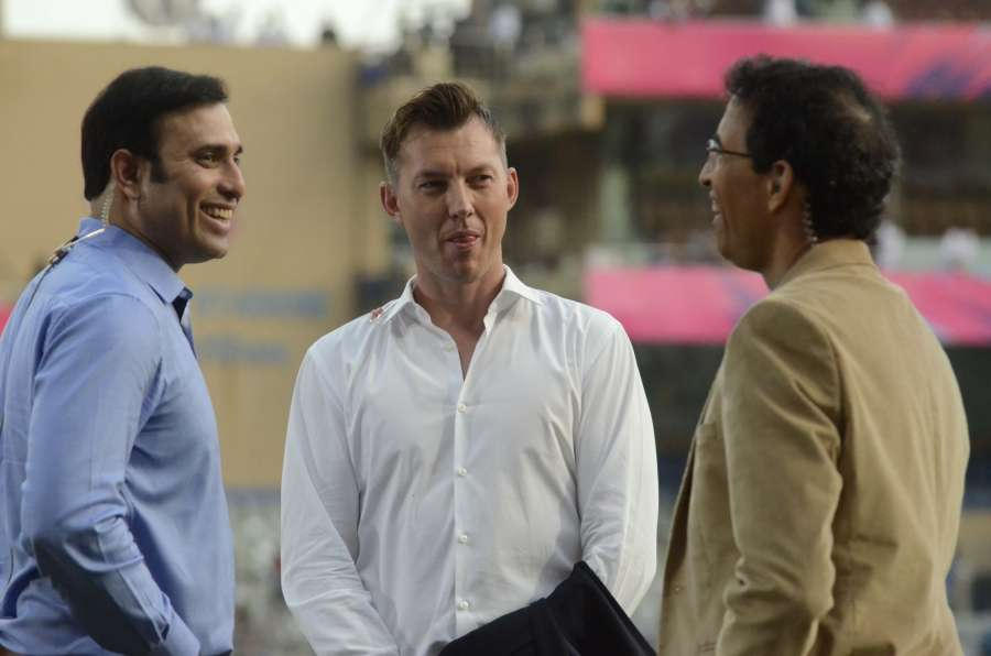 Mumbai: Commentators VVS Laxman, Bret Lee and Harsh Bhogle interacts at Wankhede Stadium ahead of a WT20 match between England and South Africa in Mumbai on March 18, 2016. (Photo: IANS) by .