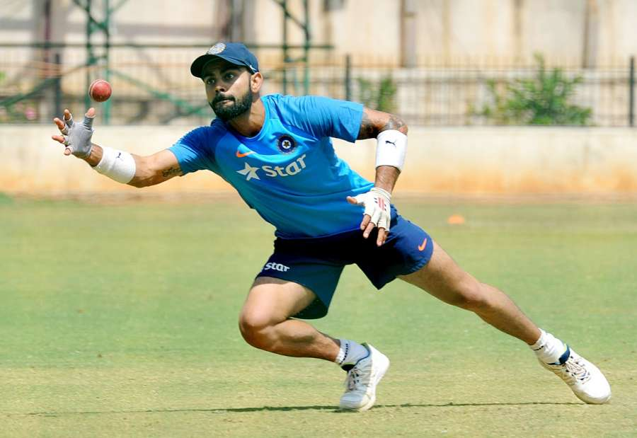 Bengaluru: Indian captain Virat Kohli during a practice session ahead of the second test match between India and Australia in Bengaluru on March 1, 2017. (Photo: IANS) by .