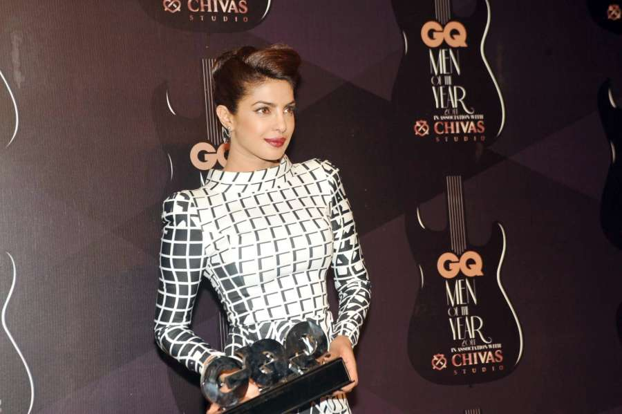 Actor Priyanka Chopra during GQ Men Of The Year Awards 2014, in Mumbai on Sept. 28, 2014. (Photo: IANS) by .