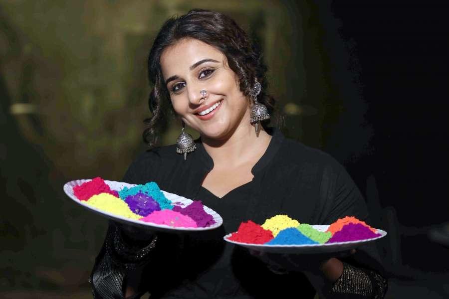 Mumbai: Actress Vidya Balan's Holi celebrations during promotion of her film Begum Jaan. (Photo: IANS) by .