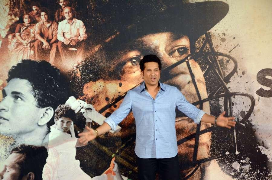 "Mumbai: Cricket legend Sachin Tendulkar at the trailer launch of ""Sachin A Billion Dream"" - a biographical film on him in Mumbai on April 13, 2017. (Photo: IANS) by ."