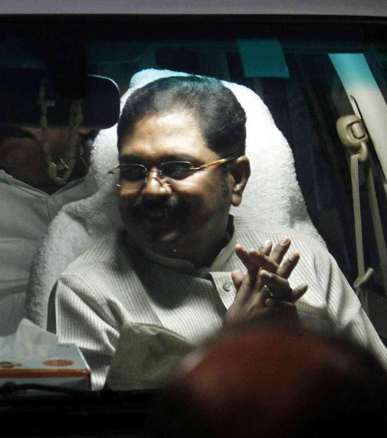 Nagpur: AIADMK Deputy General Secretary T T V Dinakaran arrives at party office in Chennai on March 27, 2017. (Photo: IANS) by .