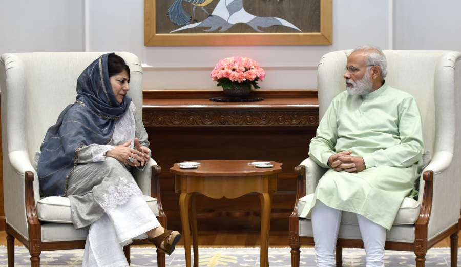 New Delhi: Jammu and Kashmir Chief Minister Mehbooba Mufti calls on Prime Minister Narendra Modi, in New Delhi on April 24, 2017. (Photo: IANS/PIB) by .