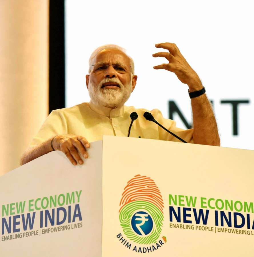 Nagpur: Prime Minister Narendra Modi addresses a 'Public Meeting', after launching of various projects and schemes in Nagpur, at Indoor Sports Complex, Mankapur, Nagpur on April 14, 2017. (Photo: IANS/PIB) by .