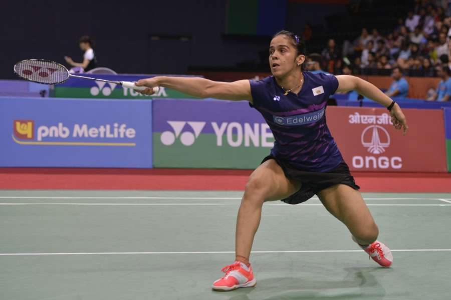 New Delhi: Indian shuttler Saina Nehwal in action against compatriot PV Sindhu in the quarter-final match of 2017 India Open World Superseries badminton championships in New Delhi, on March 31, 2017. PV Sindhu won. (Photo: IANS) by .