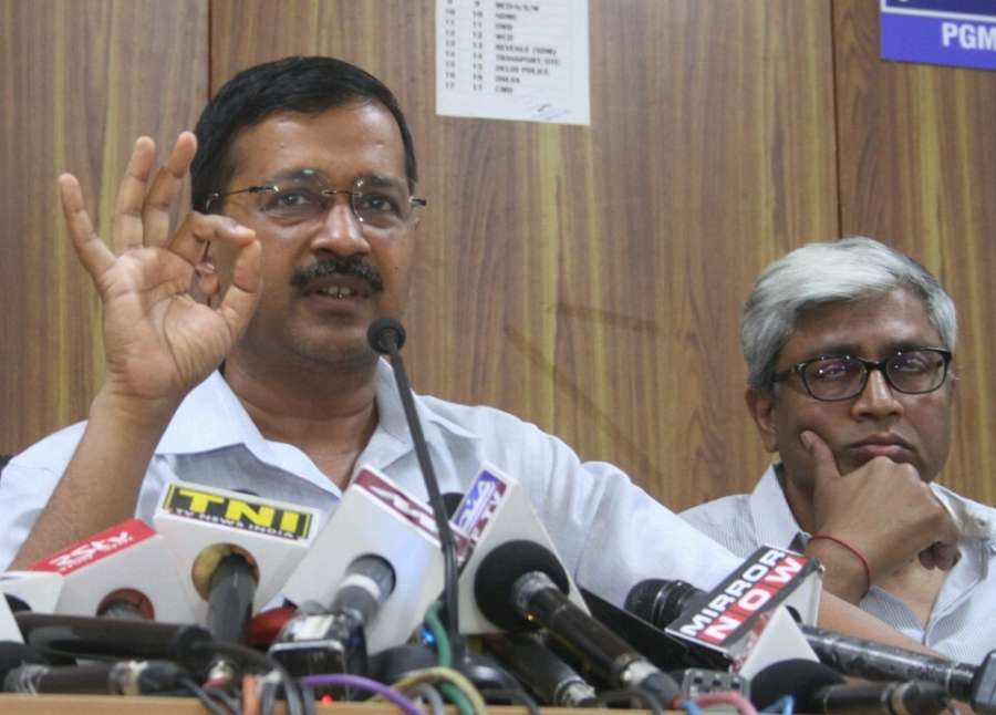 New Delhi: AAP leader Arvind Kejriwal addresses a press conference called to release party's manifesto for Delhi MCD Polls in New Delhi, on April 19, 2017. (Photo: IANS) by .