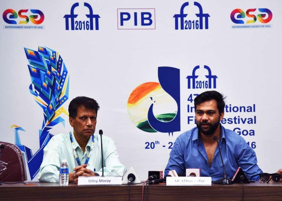 Panaji: Director Ali Abbas Zafar (R) addresses a press conference during the 47th International Film Festival of India (IFFI-2016) in Panaji on Nov 25, 2016. (Photo: IANS/PIB) by .