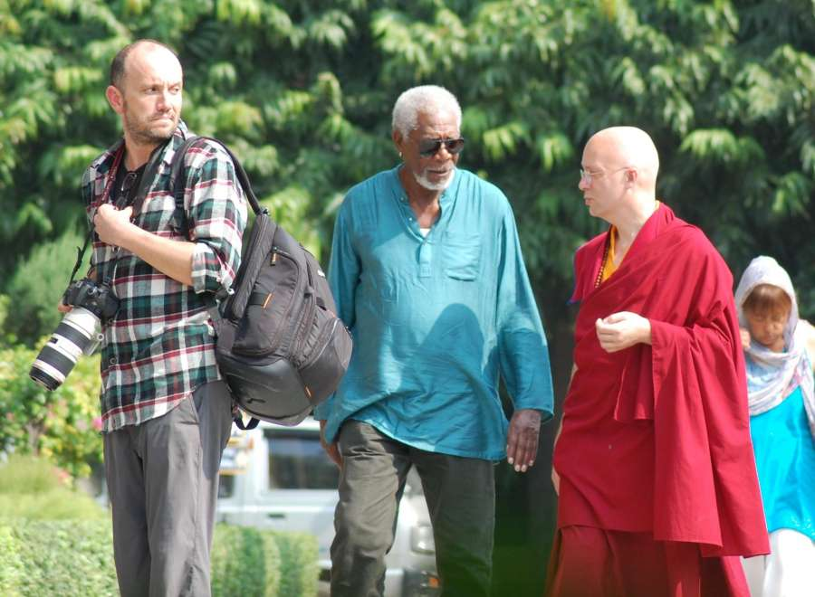 Varanasi: Hollywood Actor Morgan Freeman arrives at Sarnath Buddhist monasteries near Varanasi on Nov. 6, 2015. (Photo: IANS) by .