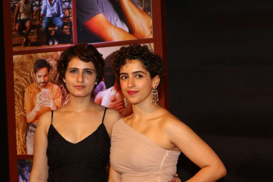 Mumbai: Actors Fatima Sana Shaikh and Sanya Malhotra during the success party of film Dangal in Mumbai on Feb 4, 2017. (Photo: IANS) by .