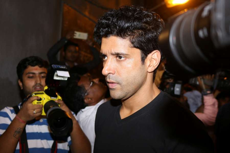 Mumbai: Actor Farhan Akhtar at the funeral of actor Om Puri in Mumbai on Jan 6, 2017. Om Puri who passed away after a massive heart attack. (Photo: IANS) by .